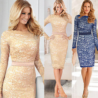 2014 new Women's Fashion Celebrity Style Elegant Long Sleeve Lace Dress