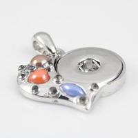 6pcs/lot mix shape fashion Silver Colorful Heart shaped Snap Pendant button Buckle Clasp For Making Snap pendant necklace