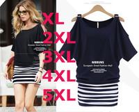 2014 New Women Summer Plus Size Dress Crew-neck Off the Shoulder Striped Short-sleeve Mini Dress Free Shipping HHY5659LQ