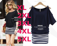 2014 New Women Summer Plus Size Dress Crew-neck Off the Shoulder Striped Short-sleeve Mini Dress Free Shipping HHY5659LQ