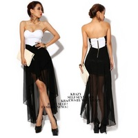 Sexy Lady black  Hollow out backless mini party evening long dress clubwear
