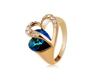 Gorgeous Heart Design Sapphire & Crystal Rhinestone Decorated Ring Sz 9       LHP-5951D