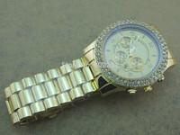 Free Shipping 2014 New Fashion Kors Watch Men Luxury Brand Full Steel Watch big dial 46mm Men Quartz Wristwatches 4 color