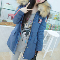 2014 New Fashion Winter Women Fashion Fur Hooded Zipper Embellished Fleece Inside Military Casual Coat outerwear 179