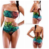 2014 New Sexy Women Swimwear Vintage Bandage Beach Dress Swimsuit Leaf Print Strapless Girl Bikini Bikinis Set Bathing Suits