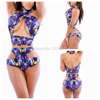 2014 Sexy Women Swimwear Vintage Bandage Beach Bikini Swimsuit Print Cutout Bottom High Waisted Girl Bikinis Set Bathing Suits