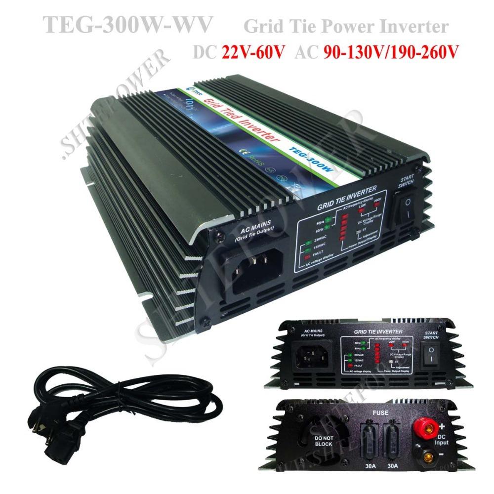 300W Solar MPPT Charge Controller Inverter, On Grid Tie Inverter for Solar Panel DC 22V-60V to AC 110V 220V(China (Mainland))