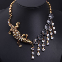 New design The crocodile crystal tassels brief paragraph clavicle Necklaces & Pendants fashion necklaces for women 2014