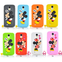 Free shipping Cartoon Mickey Minnie Mouse with rings bow soft rubber silicone phone cases covers for Samsung S4 i9500
