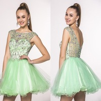 2014 Sweet Style Scoop Neck Cap Sleeves Crystals with Beads See Through Low Back Organza Light Green Prom Dresses