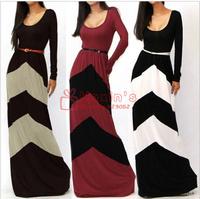 2014 new fashion summer autumn women's long dress sexy belt geometric stripe sleeve mop floor dress vestidos longos desigual