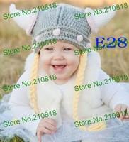 Crochet Baby hat Hand made Cartoon vikings ox horn earmuffs cap Hat Beanie Newborn Photo props 150pcs/lot Free shipping By DHL