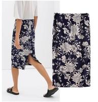 Brand New 2015 Hot Sale Fashion Women's Blue & White Floral Print Back Split Slim Long Skirt Career Skirts SML