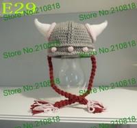 Crochet Baby hat Hand made Cartoon vikings ox horn earmuffs cap baby Beanie Newborn Photo props 200pcs/lot Free shipping By DHL