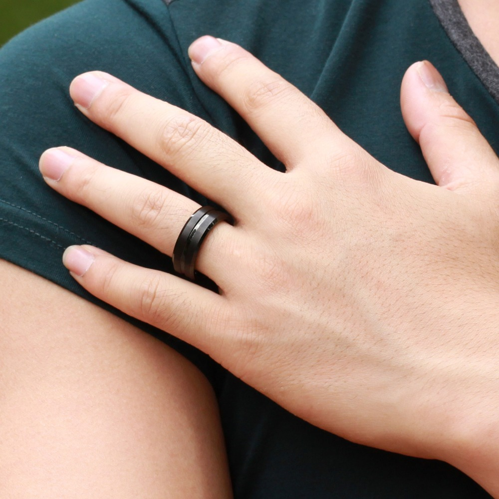 8MM Black Tungsten Steel Mens Finger Rings Couple Rings Wedding Band Engagement Party Gift
