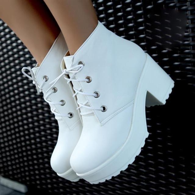 Туфли-botas 2014 новинка женская панк стиль на шнурках ботильоны платформа толстый каблук женская обувь бесплатная доставка XWX702