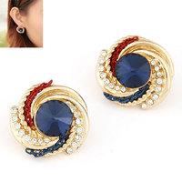 2014 New Fashion Elegant OL Female Earrings Sweet Crystal Stud Earrings