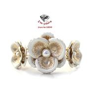 JZ25 Accessories wholesale Three-dimensional flowers gold bracelet