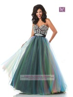 2011 New Sweet Princess Floor Length Organza Prom robe de soiree 2014 Dresses vestido de festa longo