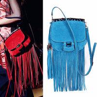 European Famous Brand Fringe Handbag Women Leather Shoulder Bag Fashion Tassel Crossbody Messenger Bags BB0948