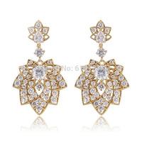 2014 New Top AAA Cubic Zirconia Chandelier Bridal Long Dangle Earrings for Women Imitated Gemstone Wedding Jewelry