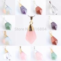 1Pc Quartz Crystal Gold Sand Stone Opal  Gem Stone Healing Chakra Pendant Charms Jewelry