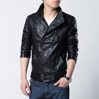 2014 New Vintage Men's Casual PU Leather Designed Jacket Slim Fit Coat