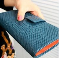 New arrival 2014 fashion cowhide purse female genuine leather crocodile pattern long design women wallets card holder wallet