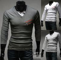 Winter 2014 Brand Men's T Shirt Fashion Men Korean Design Cotton Casual Long Sleeve Man Shirts V Neck Male homens AX280 M-2XL
