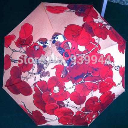 Free Shipping 2014 new arriver Oil Painting Anti-uv Umbrella rain women(Red autumnal leaves) UPF 50+(China (Mainland))