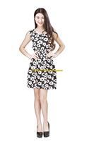Girl Lady Chiffon Summer Sleeveless White Floral Pattern Tunic Mini Short Waist Beach Dress Sundress FAS1