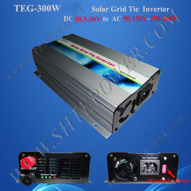 pv grid tie inverter with switch 300w mppt solar inverter dc 10.8-30v to ac 120v/220v(China (Mainland))