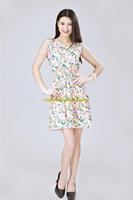 Girl Lady Chiffon Summer Sleeveless Yellow Floral Tunic Mini Short Waist Beach Dress Sundress FAS15