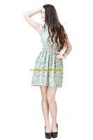 Girl Lady Chiffon Summer Sleeveless Green Floral Tunic Mini Short Waist Beach Dress Sundress FAS13