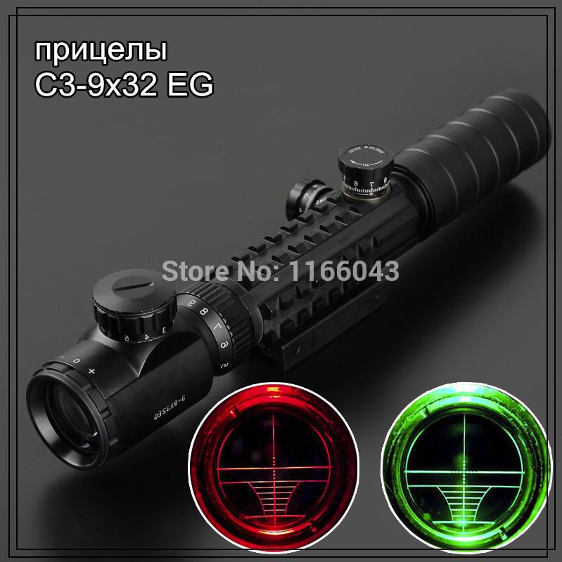 Mira telescópica C3-9X32EG Red Green Dot Mira Reflex mira r riflescopes LLL escopos de visão noturna para a caça Freeshipping(China (Mainland))
