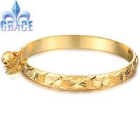 Grace Jewelry COPPER Alloy 18K Gold Plated golden Bangles children Bracelets WEDDING Acessories GB313