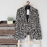 2014 Hot Sale New Cotton Blaser Feminino Suits For Women Big Brand Leopard Women's Blazer Fully Lined Slim Fahsion Single
