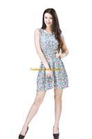 Girl Lady Chiffon Summer Sleeveless Blue Floral Tunic Mini Short Waist Beach Dress Sundress FAS14