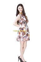 Girl Lady Chiffon Summer Sleeveless Geometric Pattern Tunic Mini Short Waist Beach Dress Sundress FAS20