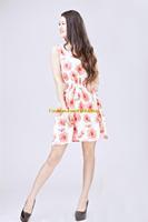 Lady Chiffon Summer Sleeveless Rose Floral Tunic Waist Beach Long Dress Sundress FAS11