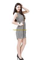 Girl Lady Chiffon Summer Sleeveless Plaids Checks Tunic Mini Short Waist Beach Dress Sundress FAS12