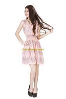 Girl Lady Chiffon Summer Sleeveless Red Floral Pattern Tunic Mini Short Waist Beach Dress Sundress FAS19