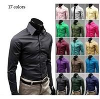 British Style Long-Sleeve Male Slim Casual Shirts Men's White Shirt Spring Autumn Plus Size Clothing New 2015