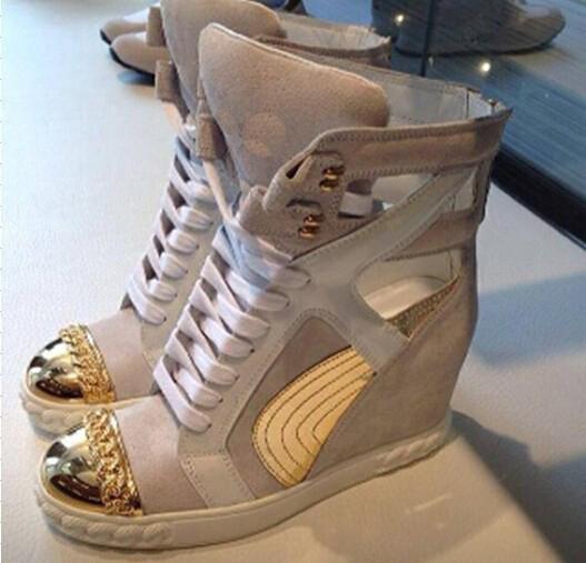 Plus récent 2014 de marque de mode femmes baskets or, dentelle chaîne- en suède chaussures de sport chaussures de sport or, orteil. coin haut pente