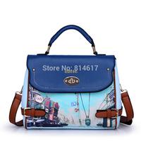 2014 women's fashion handbag vintage messenger bag print doodle handbag cross body color block casual bag online free shipping
