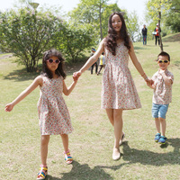 Free shipping! 2014 Clothes for mother and daughter 100% cotton parent-child dress one-piece dress big boy family fashion