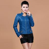 Free Shipping 2014 Autumn Large Size Outerwear PU Women Leather Clothing Short Design Leather Jacket Women,L XL 2XL 3XL 4XL 5XL