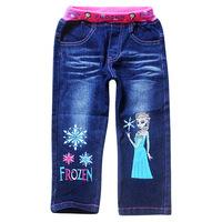Wholesale Frozen Elsa Pants Children Girl Girls Long Pants Denim Jeans Spring/Autumn Cotton Clothes for 2014 Fashion Kidss Jeans