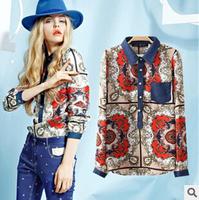 women blouse Retro,new denim chiffon blouse,Flowers Print Women Shirt OL Lady Slim Casual Blouse European Brand,L0822