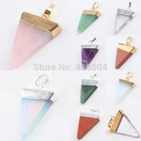 1Pc Triangle Amethyst Quartz Opal Gem Stone Healing Chakra Pendant Bead Charms Jewelry